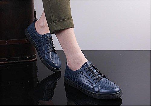 Herren outdoor-Freizeit aus weiche Leder schneiden Fashion-Sneaker Bootsschuh Blue