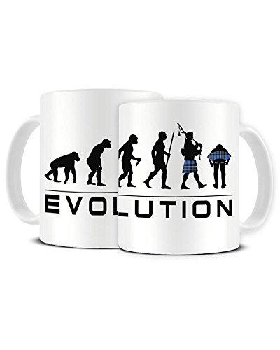 Funky NE Ltd Kaffeebecher aus Keramik, Motiv Evolution eines Schottenmanns