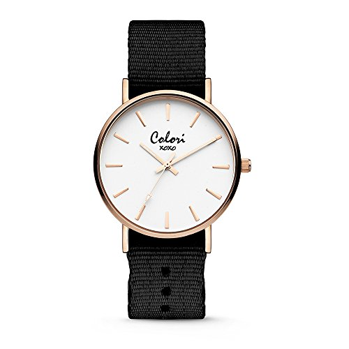 Colori XOXO 5-COL544 - Horloge - nato band - donkerbruin - ø 36 mm - Frauen Xoxo Watchs