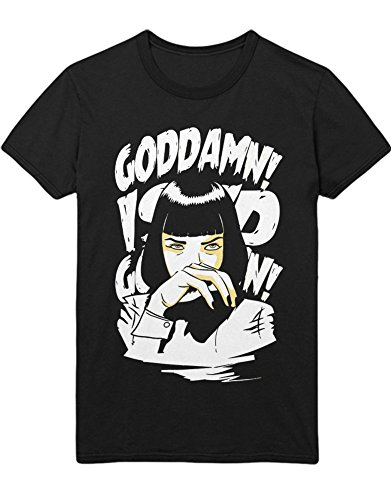 Hypeshirt T-Shirt Pulp Fiction MIA Wallace Goddamn! I Said Goddamn! C123440 Schwarz XL