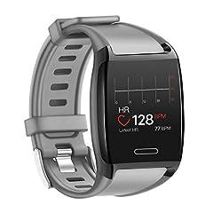 Idea Regalo - HalfSun Fitness Tracker, Orologio Fitness Braccialetto Pressione Sanguigna Cardiofrequenzimetro da Polso Impermeabile IP67 Smartwatch Uomo Donna Bambini GPS Pedometro Contacalorie Contapassi (Grigio)