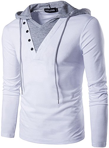 Whatlees Herren Urban Basic reguläre Passform lang arm Langes T-shirt mit Kontrast Kapuzer aus weiches Jersey B414-White-S (Extra T-shirt Langes Jersey)