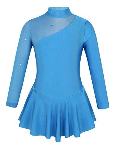 Tiaobug Mädchen Ballettkleid Ballettanzug Langarm Body Ballett Trikot Turnanzug Eiskunstlauf Kleid Bekleidung Kostüm gr. 104-152 Blau 140/10Jahre