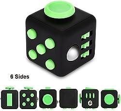 Zindoo Fidget Cube (Con 6 Funzioni) Dadi Di Stress Agitarsi Cube , Allevia Lo Stress E L'ansia, Giocattoli Articoli Da Regalo Per Bambini e Adulti E la Noia Tutto A Portata Di Mano Suggerimenti Per Il Lavoro, Class, Casa (Verde e Nero)