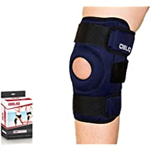 OBLIQ Hinged Knee Support Brace for Lateral Support With Dual Stabilizers Open Patella (Small (14.8-17.2 Inches))