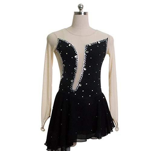XIAOY Handarbeit Eiskunstlauf Kleid für Frauen Mädchen Professionel Rollschuhkleid Wettbewerb Kostüm Langärmelige,Black,Customized