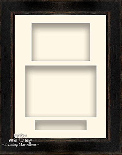 21,6x 29,2cm schwarz orange Hochformat Deep Shadow Box Bilderrahmen 3Display Custom Bild farbiger Collage Hand Made cremefarben Rustikale Holz-shadow Box