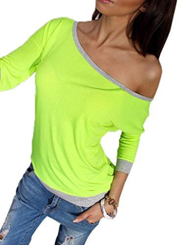 YiyiLai T-Shirt Epaule Nue Femme Tricot Chemisier Blouse Manche 3/4 Sexy Top Soirée Casual Mode Vert Buste 98cm YiyiLai