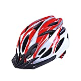 Ulmisfee Fahrradhelm mit abnehmbare Sonnenblende verstellbares reflektierendes Band Herren Damen Erwachsene Radhelm BMX Mountainbike Helm 55-60cm (Rot&Weiß)