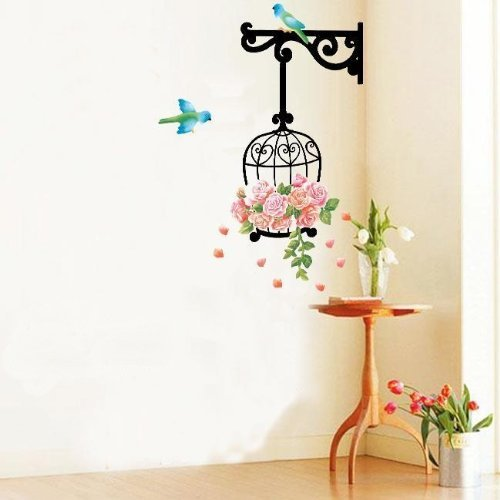 Blue Birds and Flowers - bird cage wall stickers for home art decoration by Wall Stickers