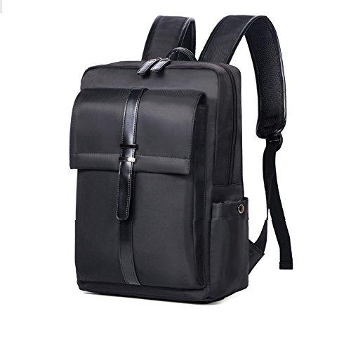 Laptop-Rucksack, Business Nylon Rucksack Schultertasche Casual Large College School Daypack, Laptop Tasche für Männer Frauen passt unter 16-Zoll-Laptop und Notebook (Schwarz) (Medium Nylon-tasche)