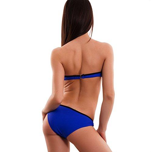 Toocool - Bikini donna costume bagno mare bordi neri due pezzi push up nuovo B5190 Blu elettrico