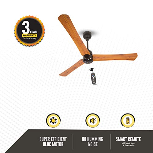 Atomberg Renesa+ 1200 mm BLDC Motor with Remote 3 Blade Ceiling Fan(Oak Wood, Pack of 1)|Formerly Gorilla