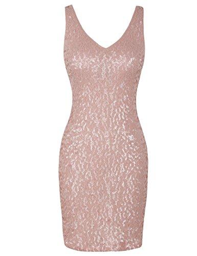 PrettyGuide Damen reizvoller tiefer V-Ausschnitt Pailletten Glitzer Bodycon Stretchy Minipartei-Kleid L Mattes rosa