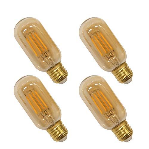 Lamparas Bombillas Edison de Filamento de LED E27 4W T45 Vintage Retro Antigua Luz Calida 2400K Equivalente 40W Bombillas Incandescentes, AC220-240V, Pack de 4 de Enuotek