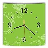 LAUTLOSE Designer Wanduhr mit Spruch Grün Blumen Muster grau weiß modern Dekoschild Abstrakt Bild 29,5 x 28cm