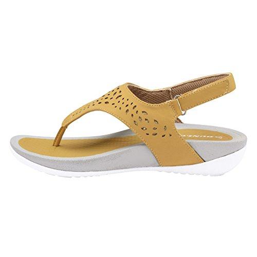 Dunlop  Slingback / Slip on, Sandales Plateforme femme Camel - Slingback