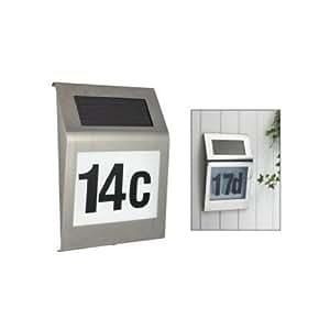 Design Solar Haus Nummer Hausnummer Hausnummernleuchte #218 mit LED Beleuchtung aus Edelstahl