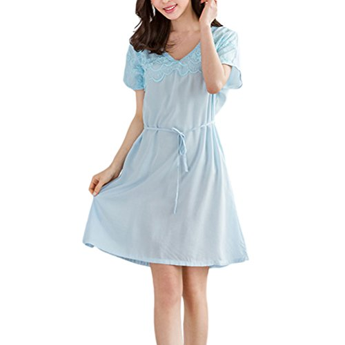 Zhhlaixing Ladies Cotton Nightdress With Waistband Blue