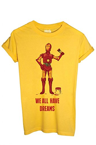 T-SHIRT IRON MAN C3PO STAR WARS - FUNNY by MUSH Dress Your Style - Uomo-M-GIALLA