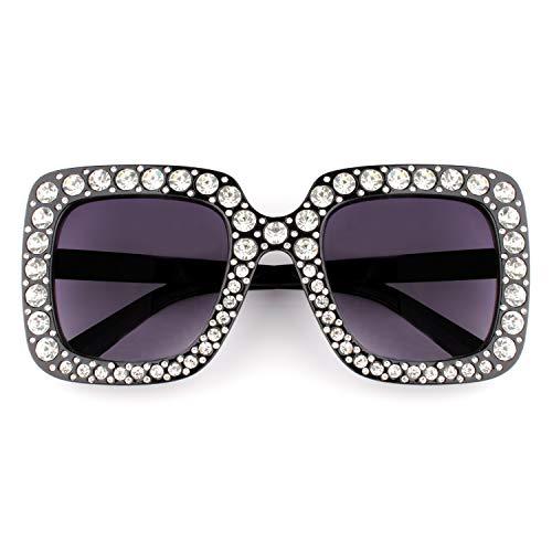 GQUEEN Occhiali Oversize Da Donna Quadrati con Cristalli Luccicanti Brand Fashion Occhiali da Sole S063