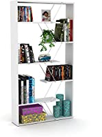 Home Canvas Modern Book Shelve for Living Room or Study Room Book Shelves, Easy Assembly Book Shelf - White and Chrome