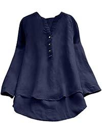 DAYLIN Mujer Camisas de Lino Casual Suelto Botones Tops Blusa T Shirts  Talla Grande 843a8c7f319d
