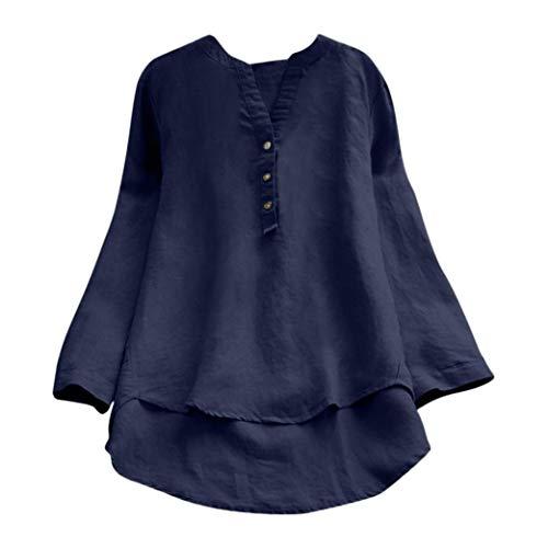 ce2b70eed7 DAYLIN Mujer Camisas de Lino Casual Suelto Botones Tops Blusa T Shirts Talla  Grande