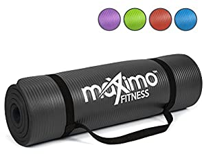 Maximo Fitness Exercise Mat - Premium Quality NBR Gym Mat - 12mm Extra Thick, Multi Purpose - Perfect for Yoga, Pilates, Sit-Ups and Stretching (Black)