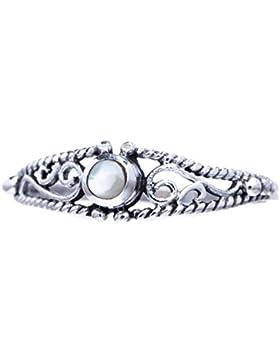 WINDALF Zarter Ring ~ NAIRNE ~ h: 0.5 cm - Perlmutt - 925 Sterlingsilber (r412)