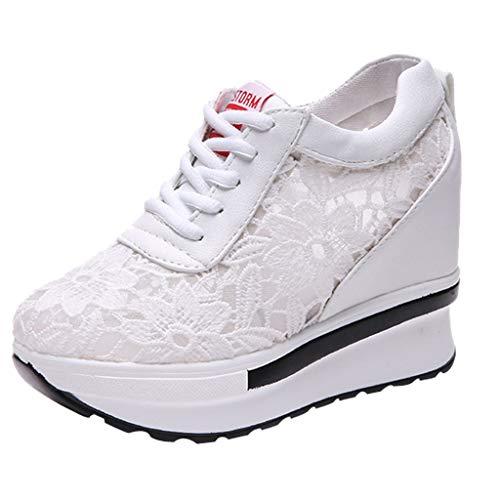 ZYUEER Damen Schuhe Weiße Schuhe aus Mesh für Frühling und Sommer, Wedges, Freizeitschuhe, Turnschuhe (Casual Wedges)
