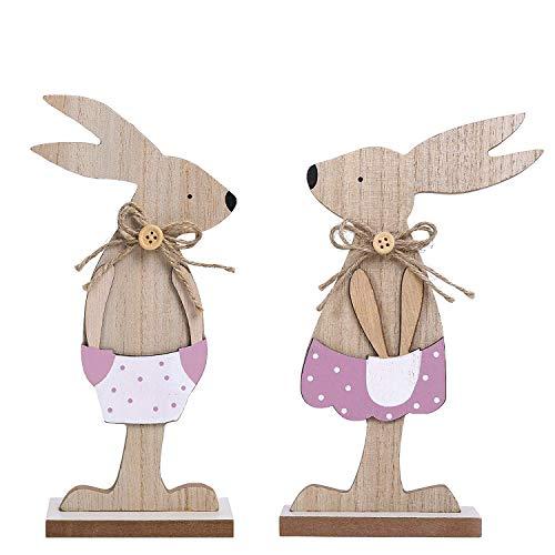 Valery Madelyn 2 Piezas 11.3/14.5cm Decoración de Mesa de Madera de Pascua, Figura de Conejito de Pascua Decoración para La Familia/Jardín (Rosa y Gris Primavera)
