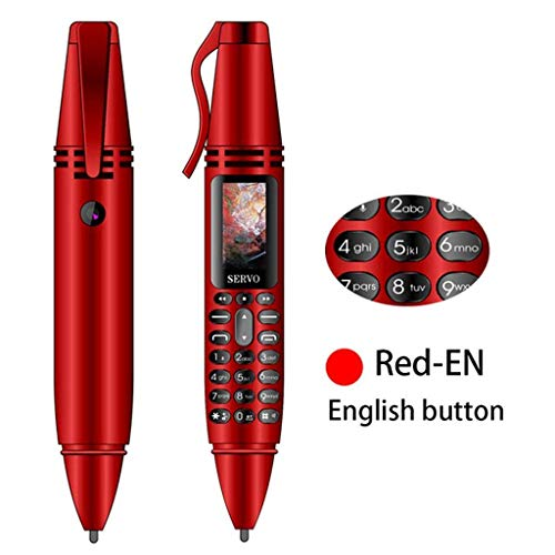 Handys Mit Aufnahmestift - Handy Dual-SIM-Karte Bluetooth Dialer - HD-Aufnahme - Meeting, Vortrag, Interview ( Color : Red English ) -