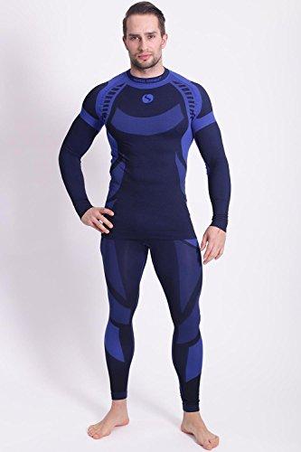 Sesto Senso Herren Funktionsunterwäsche Set langarm Shirt lange Unterhose Thermoaktiv Dunkelblau/Blau