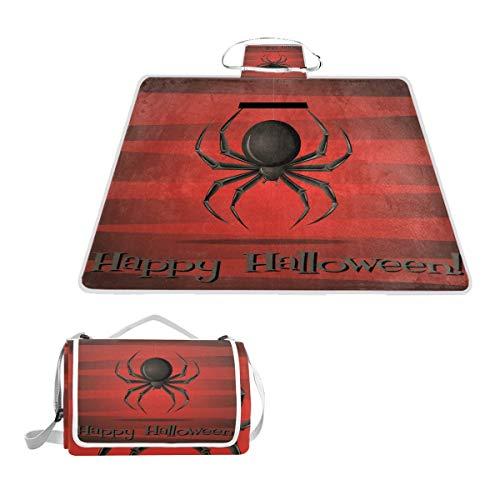 TIZORAX Happy Halloween Spider Picknickdecke Wasserdichte Outdoor Decke faltbar Picknick Handliche Matte Tragetasche für Strand Camping Wandern