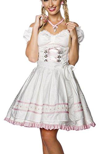 Dirndl Kleid Kostüm mit Schürze Minidirndl mit Blumenborteen Brokat und ausgestelltem Rockteil Oktoberfest Dirndl Weiß