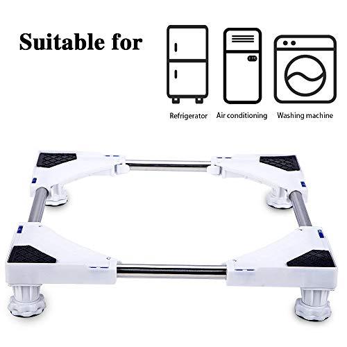 SMONTER Multifunktionaler, beweglicher und höhenverstellbarer Unterbau mit 4 stabilen Gummifüßen, für Trockner, Waschmaschine und Kühlschrank