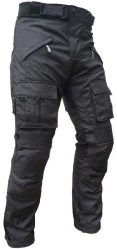 Sportliche Motorrad Hose Motorradhose Schwarz mit Oberschenkeltaschen Gr. XL