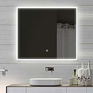 luxaqua design wandspiegel badezimmerspiegel mit led touch. Black Bedroom Furniture Sets. Home Design Ideas