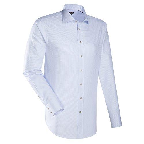 JACQUES BRITT Herren Hemd Custom Fit Brown Label 1/1-Arm Bügelleicht Karo City-Hemd Hai-Kragen Manschette mit Doppelknöpfung blau (0011)