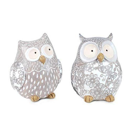 CAPRILO Set of 2 Decorative Figures of Resin Owls. Ornaments and Sculptures. Animals. Home Decoration. Original gifts. 11 x 9 x 8.5 cm.