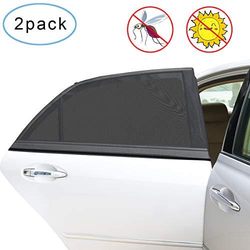 2Pcs Tendine Parasole Auto, Guenx Bambini per Finestrino Laterale dell'Auto Block Raggi UV Anti-zanzara e Antipolvere, Protegge il Bambino e Animali Domestici Contro i Dannosi Raggi UV