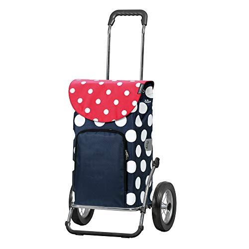 Andersen Einkaufstrolley Royal Stahlgestell klappbar mit Metallspeichenrad 25 cm und 41 Liter Einkaufstasche Dots mit Kühlfach blau/rot/weiß