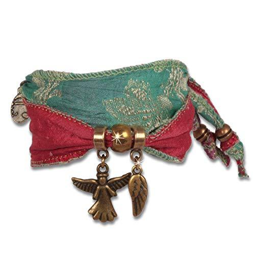 2230 Mint (Anisch de la Cara Damen Armband Peace Mint - Wings of Hope Schutzarmband aus indischen Saris Wings of Hope - ArtNr. 2230-e)
