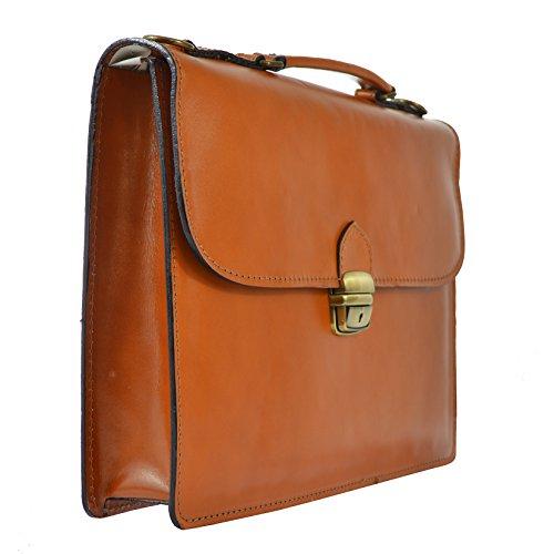 CTM Unisex Business-Tasche, Aktentasche aus echtem Leder hergestellt in Italien D7004 - 38x27x7 Cm Leder