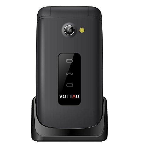 Klapp senioren handys ohne vertrag, VOTTAU E16 einfaches handy Quad-Band-GSM-Mobiltelefon Großtastenhandy Einfach zu bedienendes mit einzelnes-SIM und Notruffunktion mit SOS-Taste (Quad-band Fm Bluetooth)