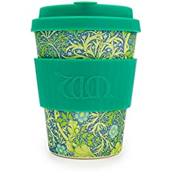 William Morris Verde Estampado ecoffee CUP ? Alga Marina marino? 12oz L / 340 ml ? reutilizable Bambú Taza de café