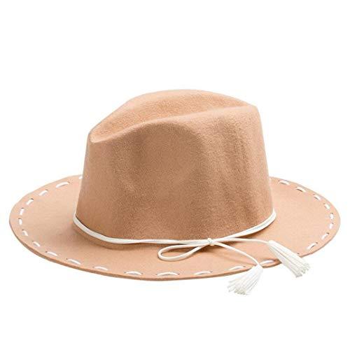 HARORU Warmer Fedora-Hut der Wollfrauen mit breiter Krempe Jazz Church Cap Weinlese-Panama-Sonne-Spitzenhut verwendbar während Aller Jahreszeiten (Gold Rush Kostüm)