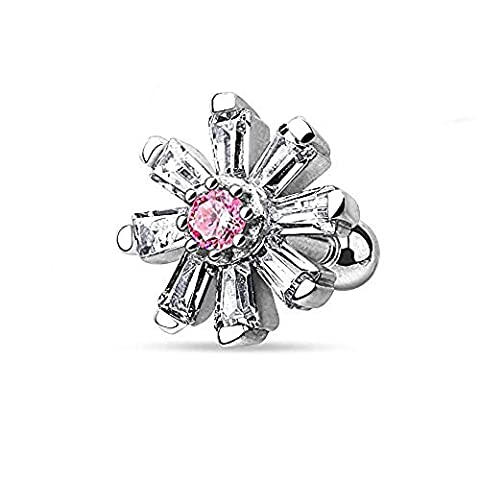 1 x Prinzessin Cut Clear Crystal Blütenblatt Blume mit rosa Crystal Center Tragus oder Knorpel Piercing Dicke: 1,2mm Länge: 6mm Ball Größe: 3mm Material: Chirurgischer Stahl Überzug: Rhodium