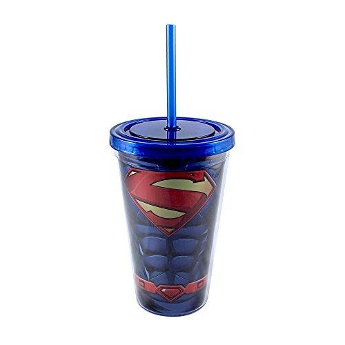 Silver Buffalo SP60087 DC Comics Superman Torso-Kaltbecher mit Deckel und Strohhalm, 473 ml